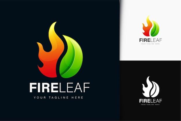 Design del logo con fuoco e foglia con gradiente