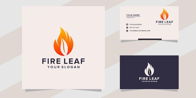 Modello logo foglia di fuoco