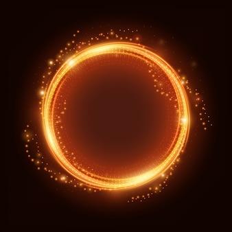 Anello luce fuoco con scintilla vettoriale
