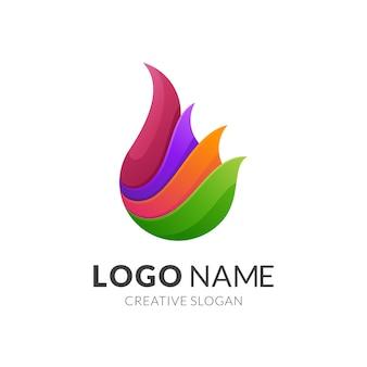 Concetto di logo di fuoco, stile logo moderno in colori vivaci sfumati