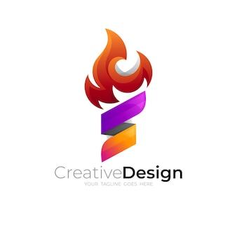Illustrazione del design del logo del fuoco, design colorato 3d, icona della torcia