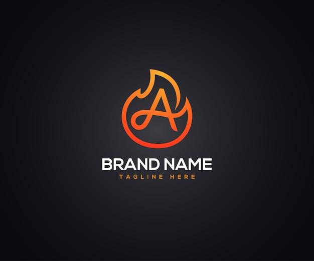 Logo del fuoco e lettera iniziale a per azienda e impresa