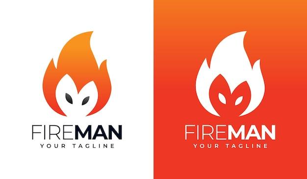 Design creativo del logo dell'uomo di fuoco