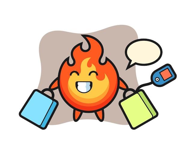 Fumetto della mascotte del fuoco che tiene una borsa della spesa, design in stile carino per maglietta, adesivo, elemento logo