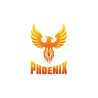 Modello di progettazione di logo di fenice di fuoco