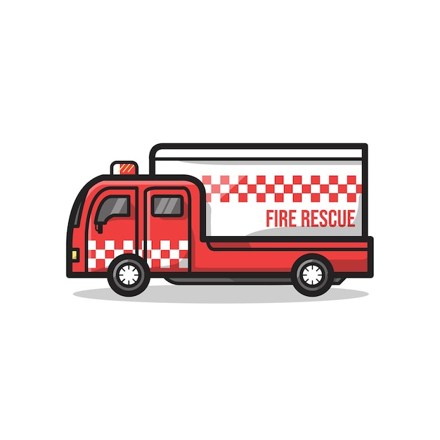 Veicolo dell'ambulanza del dipartimento di soccorso antincendio in un'illustrazione minimalista unica di arte della linea