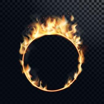 Anello di fuoco realistico circo ardente ardente cerchio di fiamma di fuoco