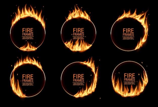 Anelli di fuoco, cornici rotonde in fiamme. cerchi bruciati o buchi nel fuoco, cerchi di bruciature realistici con lingue di fiamma sui bordi. cerchi bagliori per spettacoli circensi, bordi circolari impostati