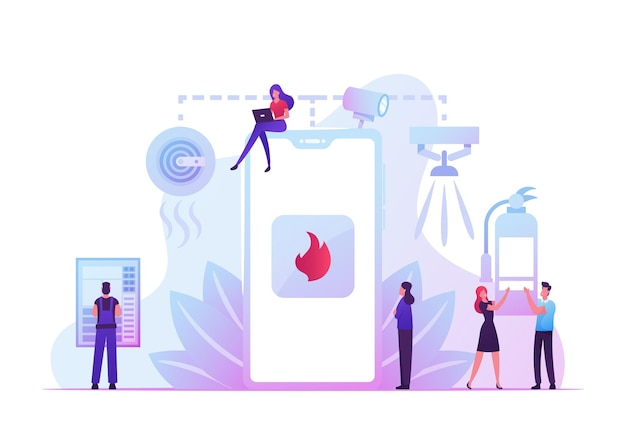 Concetto di sistema di sicurezza antincendio. le persone ricevono una notifica dallo smartphone sull'incidente di incendio. cartoon illustrazione piatta