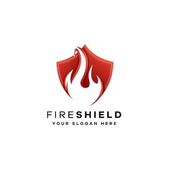 Modello di logo sfumato scudo di fuoco con colori rossi