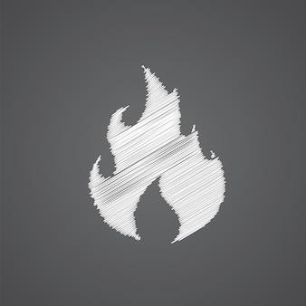 Icona di doodle logo schizzo fuoco isolato su sfondo scuro
