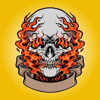 Teschio di fuoco disegnato a mano con banner