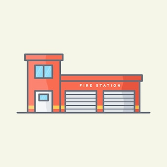 Illustrazione vettoriale della caserma dei pompieri