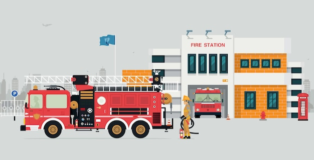 Stazione dei vigili del fuoco con vigile del fuoco e camion dei pompieri con sfondo grigio.