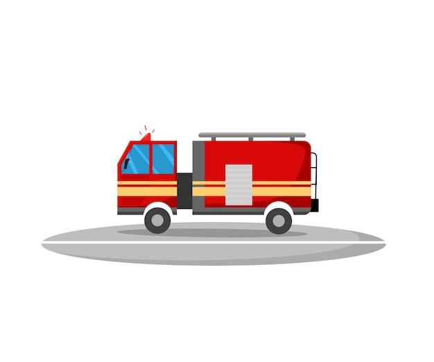 Un camion dei pompieri in stile cartone animato. illustrazione vettoriale.