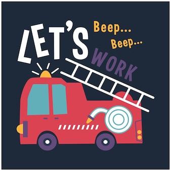 Cartone animato divertente design camion dei pompieri