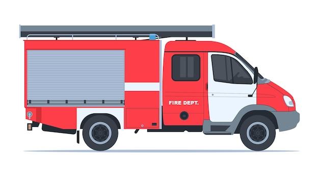 Vista laterale del camion dei pompieri
