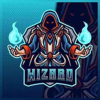 Fire wizard magician mascotte esport logo design illustrazioni modello, strega, logo del mago
