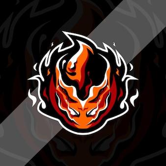 Modello di progettazione di logo della mascotte di palla di fuoco