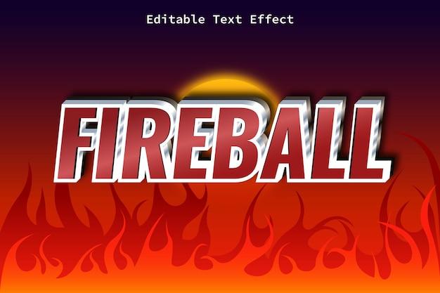 Palla di fuoco con effetto di testo in stile moderno