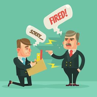 Impiegato licenziato. carattere di capo arrabbiato.