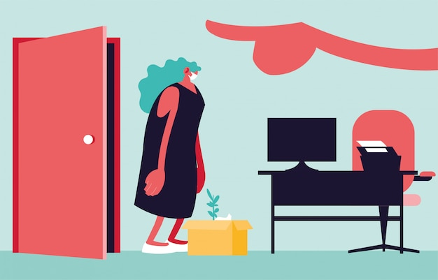 Donna licenziata con scatola, grande capo mano che punta sulla porta