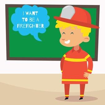 Illustrazione del bambino del fumetto del pompiere
