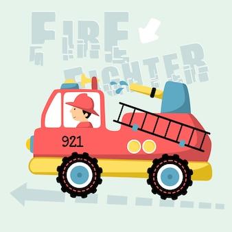Cartone animato vigile del fuoco
