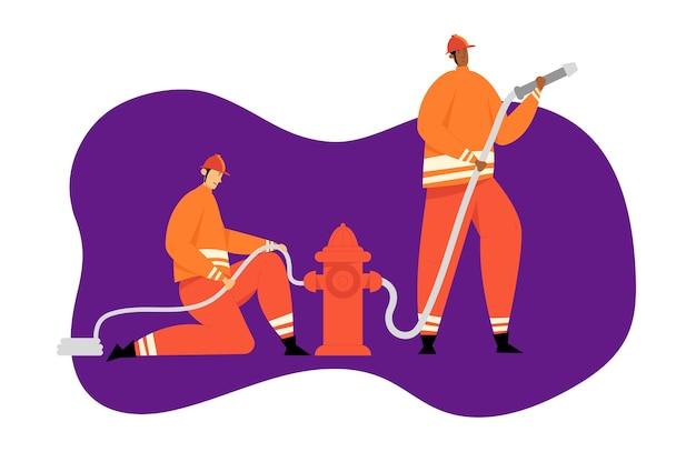 Personaggi dei vigili del fuoco con equipaggiamento di salvataggio. concetto di emergenza antincendio con vigile del fuoco in azione. vigili del fuoco in casco con estintore.