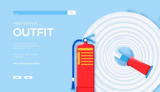 Volantino di concetto di vigile del fuoco, banner web, intestazione dell'interfaccia utente, entra nel sito. consistenza del grano ed effetto rumore.
