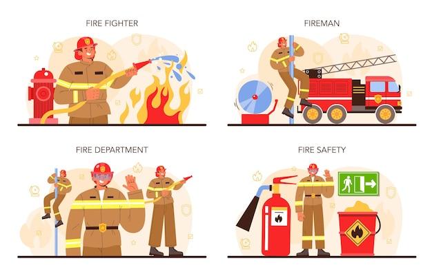 Insieme di concetto del pompiere. vigili del fuoco professionisti che combattono con la fiamma. operaio dei vigili del fuoco che indossa un casco e un'uniforme che tiene un tubo flessibile dell'idrante, innaffiando il fuoco. illustrazione vettoriale piatta