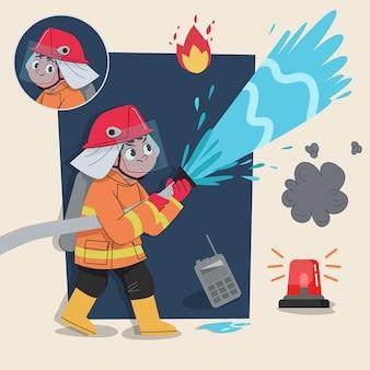 Un simpatico personaggio 2d vigile del fuoco pronto per l'animazione completo di strumenti di lavoro