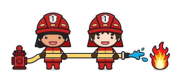 Il pompiere estingue l'illustrazione di vettore dell'icona del fumetto del fuoco. design piatto isolato in stile cartone animato isolated