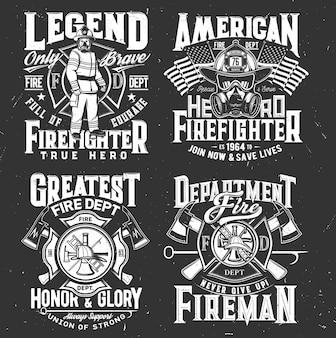 Vigile del fuoco, emblema del dipartimento antincendio, vigile del fuoco e idrante.