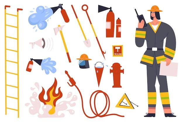 Vigile del fuoco, personaggio vigile del fuoco con strumenti di attrezzature antincendio. vigile del fuoco in uniforme con idrante per manichetta antincendio, set di illustrazioni vettoriali per estintori. personaggio pompiere