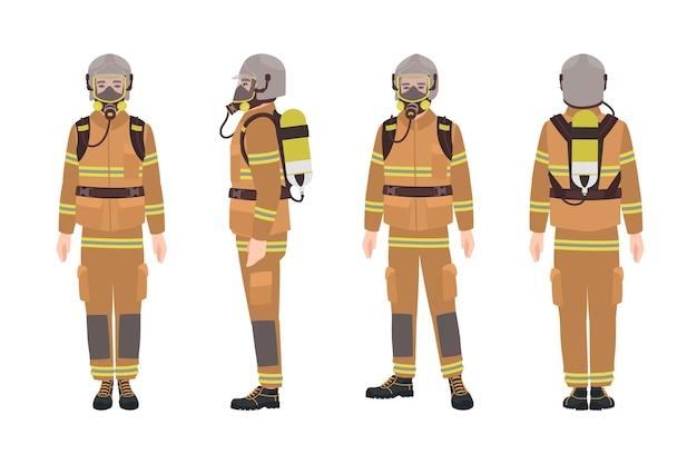 Vigile del fuoco o vigile del fuoco che indossa equipaggiamento protettivo o uniforme, casco, autorespiratore e bombola d'aria. personaggio dei cartoni animati maschio isolato su priorità bassa bianca. illustrazione vettoriale piatto colorato