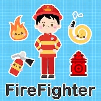 Vigile del fuoco - set di simpatico personaggio dei cartoni animati kawaii di occupazione