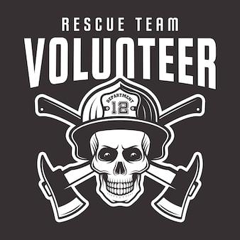 Cranio del pompiere in casco con emblema della squadra di soccorso volontario dell'iscrizione, etichetta o t-shirt stampata su sfondo scuro