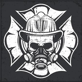 Teschio pompiere con elmo e maschera
