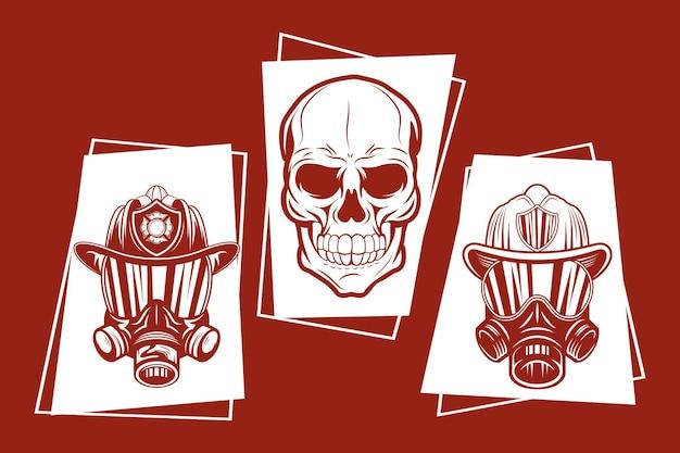 Collezione di simboli del pompiere