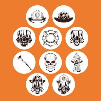 Insieme di simboli del pompiere