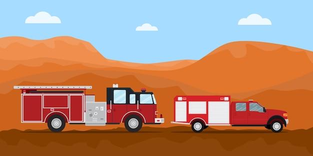 Estintore del camion del pompiere sulla strada