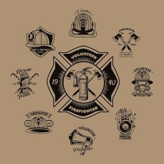 Distintivi di volontario pompiere