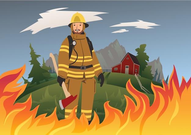 Un vigile del fuoco con un'ascia in piedi in mezzo al fuoco. illustrazione.