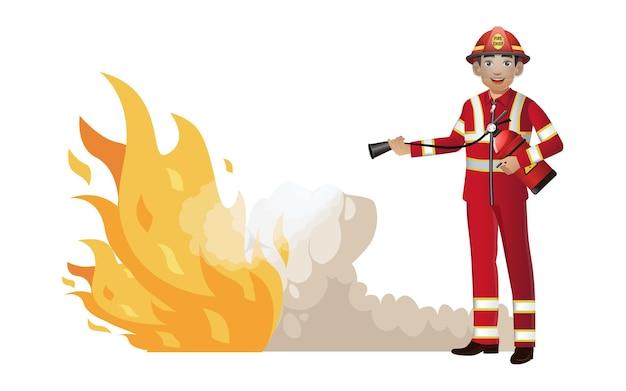 Vigile del fuoco con diverse pose
