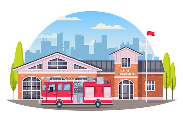 Composizione del fumetto dei vigili del fuoco con l'illustrazione rotonda della siluetta di paesaggio urbano