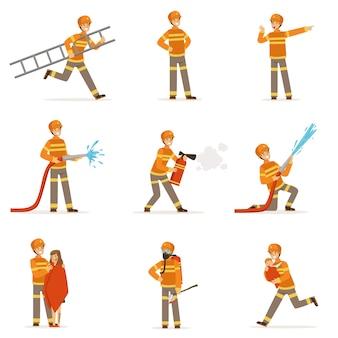 Pompieri in uniforme arancione che fanno il loro lavoro impostato.