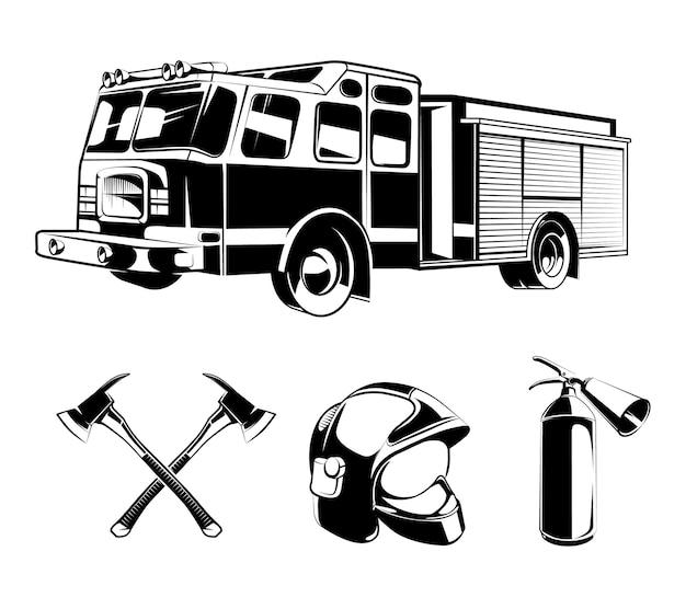 Elementi di vettore di vigili del fuoco per etichette o loghi. casco e ascia, protezione e illustrazione di salvataggio
