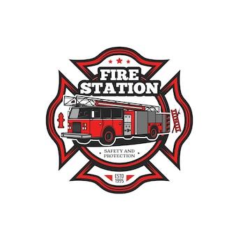 Icona di vettore di simbolo antincendio con camion dei pompieri e attrezzature per vigili del fuoco. autopompa antincendio, idrante, scala per vigili del fuoco e gancio isolato distintivo rosso dei vigili del fuoco, progettazione dei servizi di soccorso e di emergenza