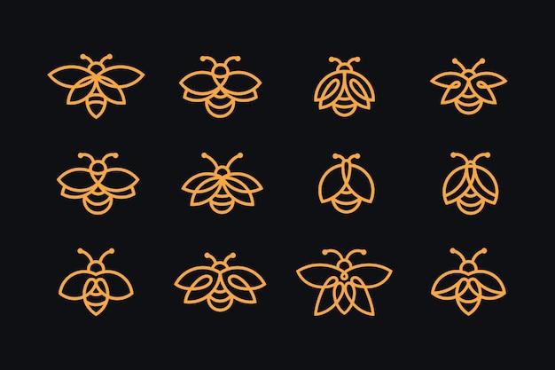 Collezione di logo firefly con stile art line